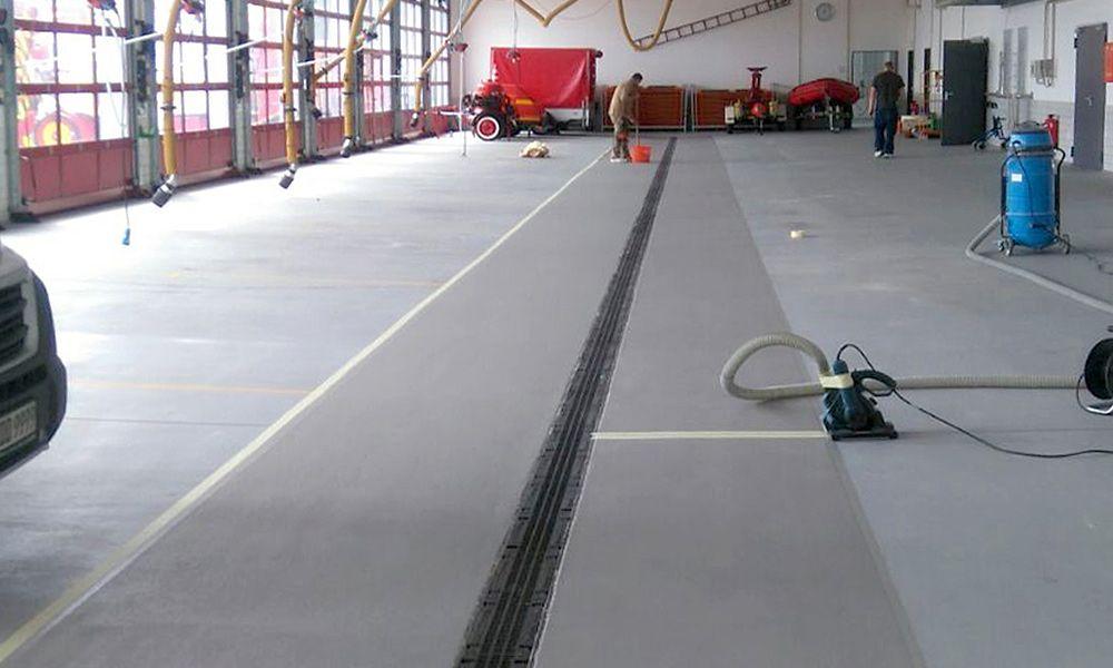 PMMA-Beschichtung in einer Feuerwehrzentrale